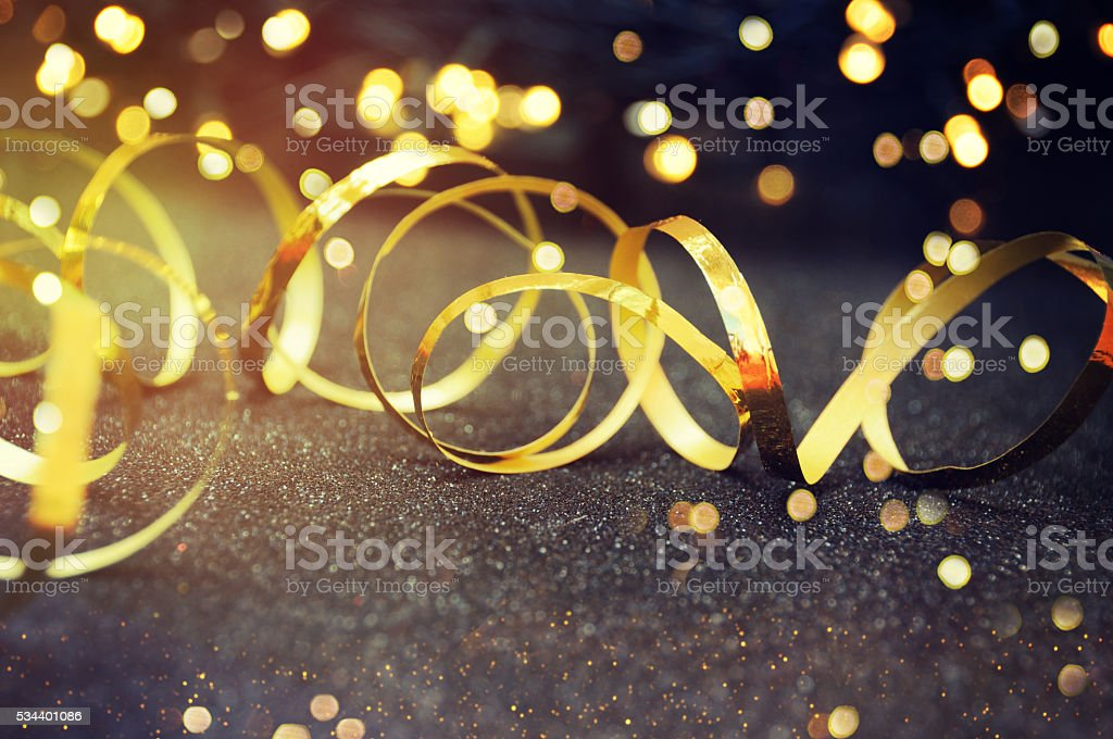 Party Background with lights and serpentine stock photo
