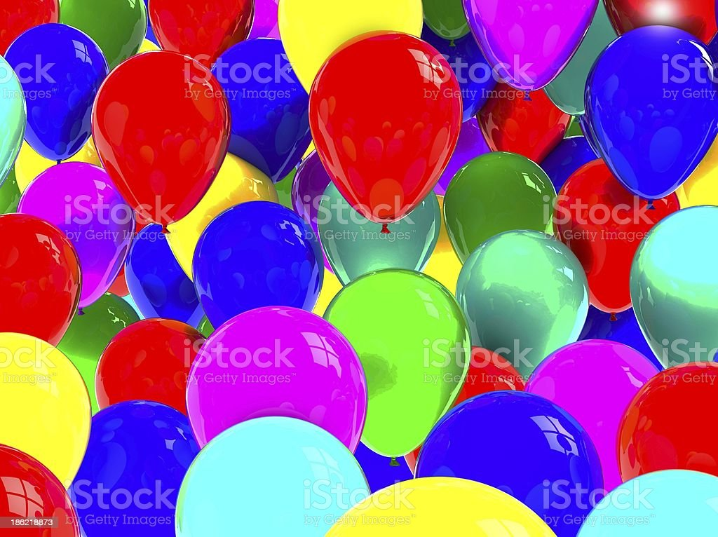 Party balloons background 3D royalty-free stock photo