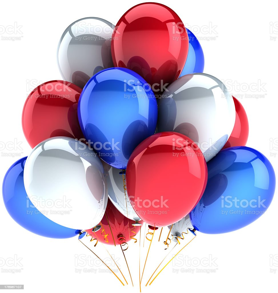 Party balloons colored for Independence Day celebration stock photo