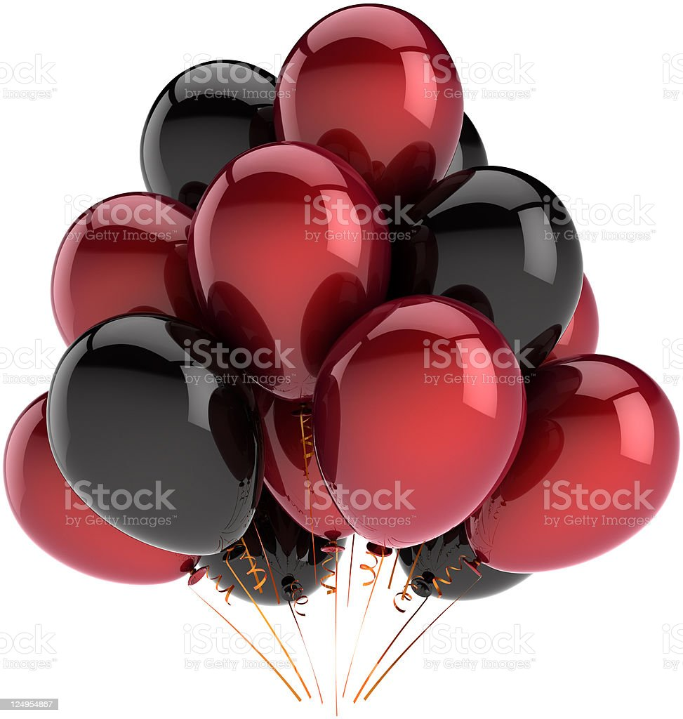 Party balloons decoration colored black and red stock photo