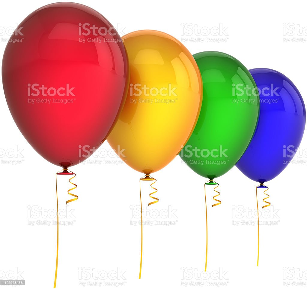 Party balloons four multi colored royalty-free stock photo