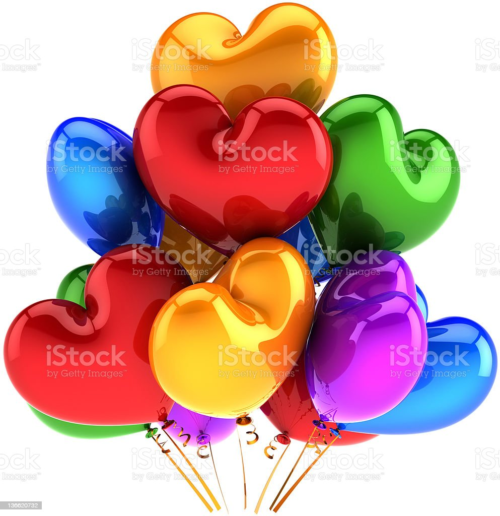 Party balloons in form of hearts colorful decoration royalty-free stock photo