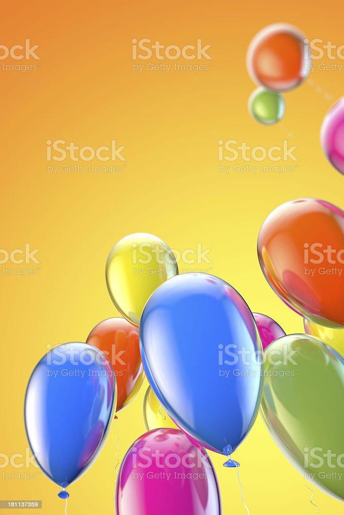 Party balloons on orange background royalty-free stock photo