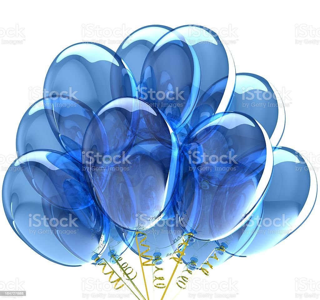 3D party balloons translucent colored blue. Isolated on white background royalty-free stock photo
