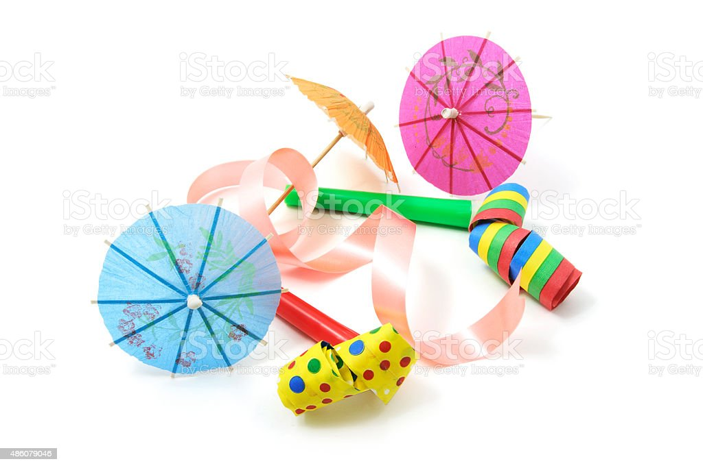 Party Blowers and Cocktail Umbrellas stock photo