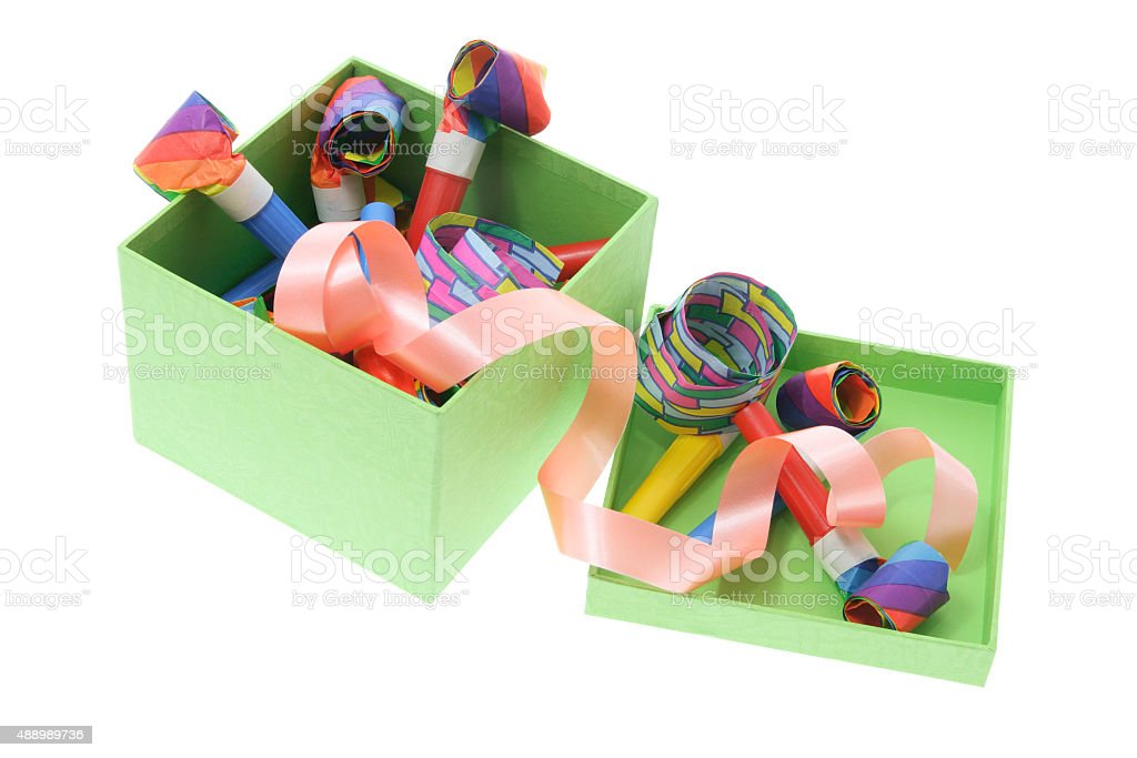 Party Blowers in Green Gift Box stock photo