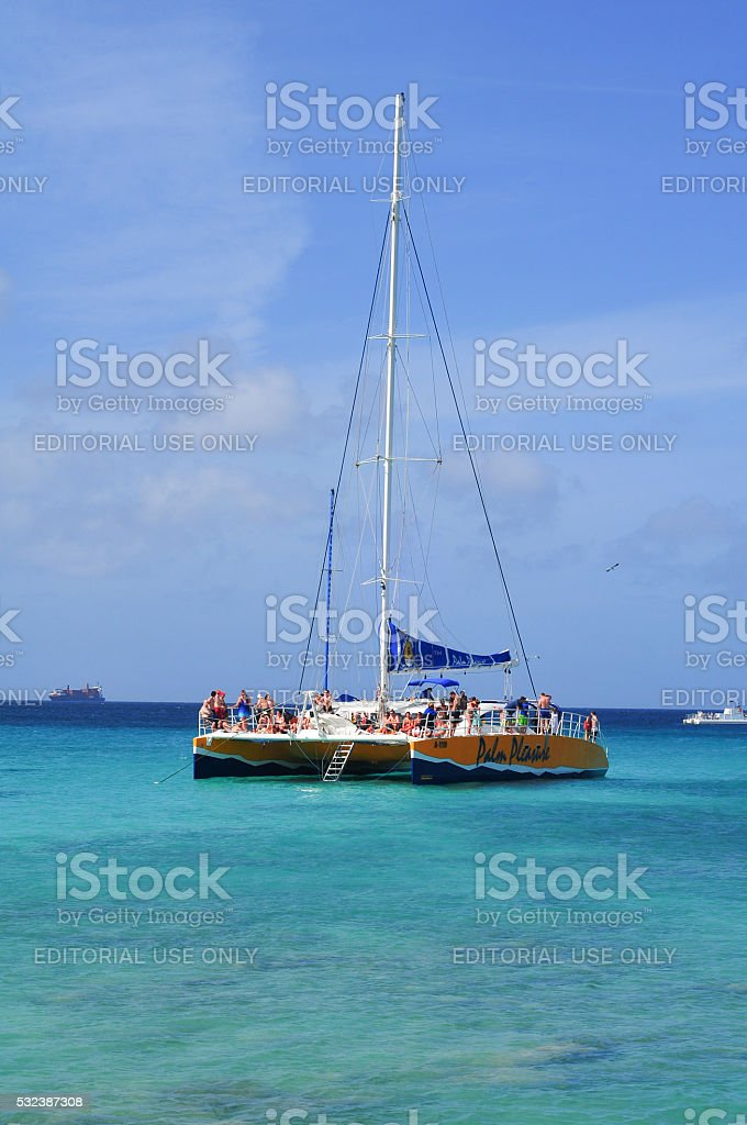 Party Boat on the Sea stock photo