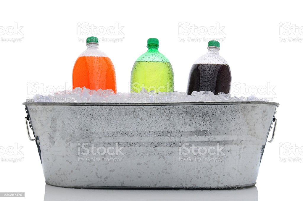 Party Bucket with Soda Bottles stock photo
