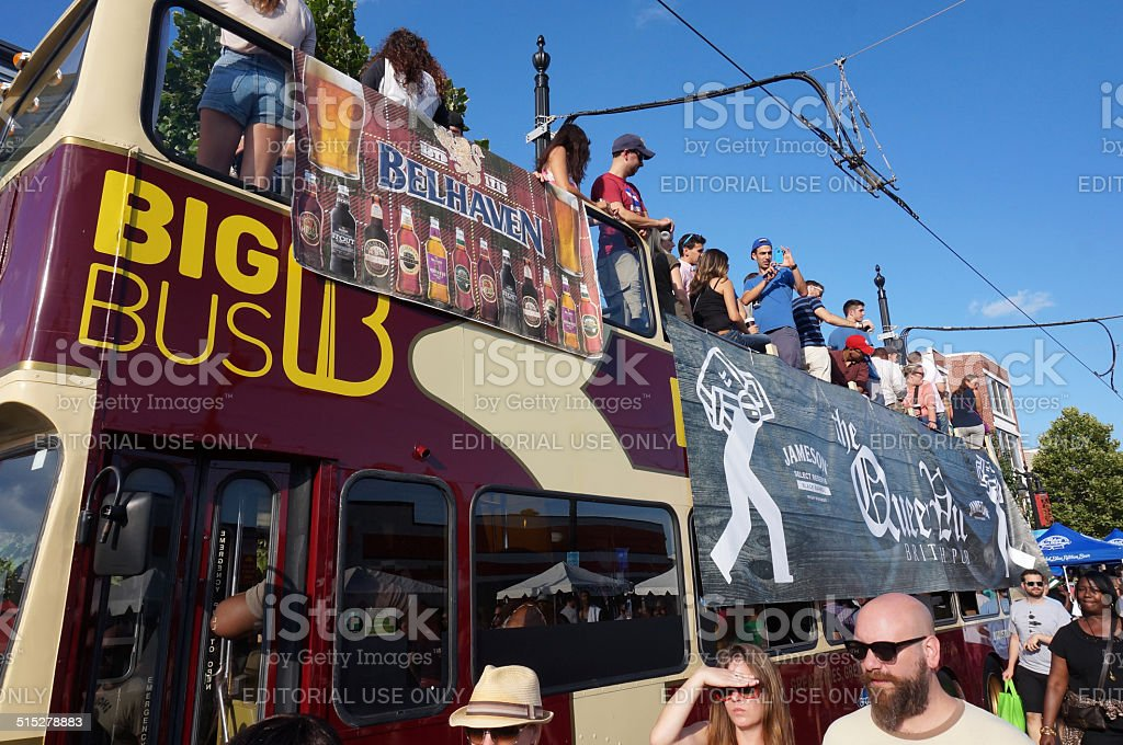 Party Bus at the Festival stock photo
