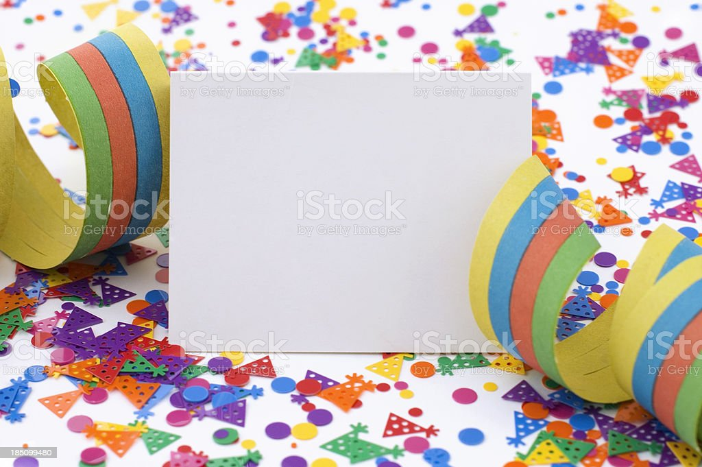 Party Card with Ribbon and Confetti stock photo