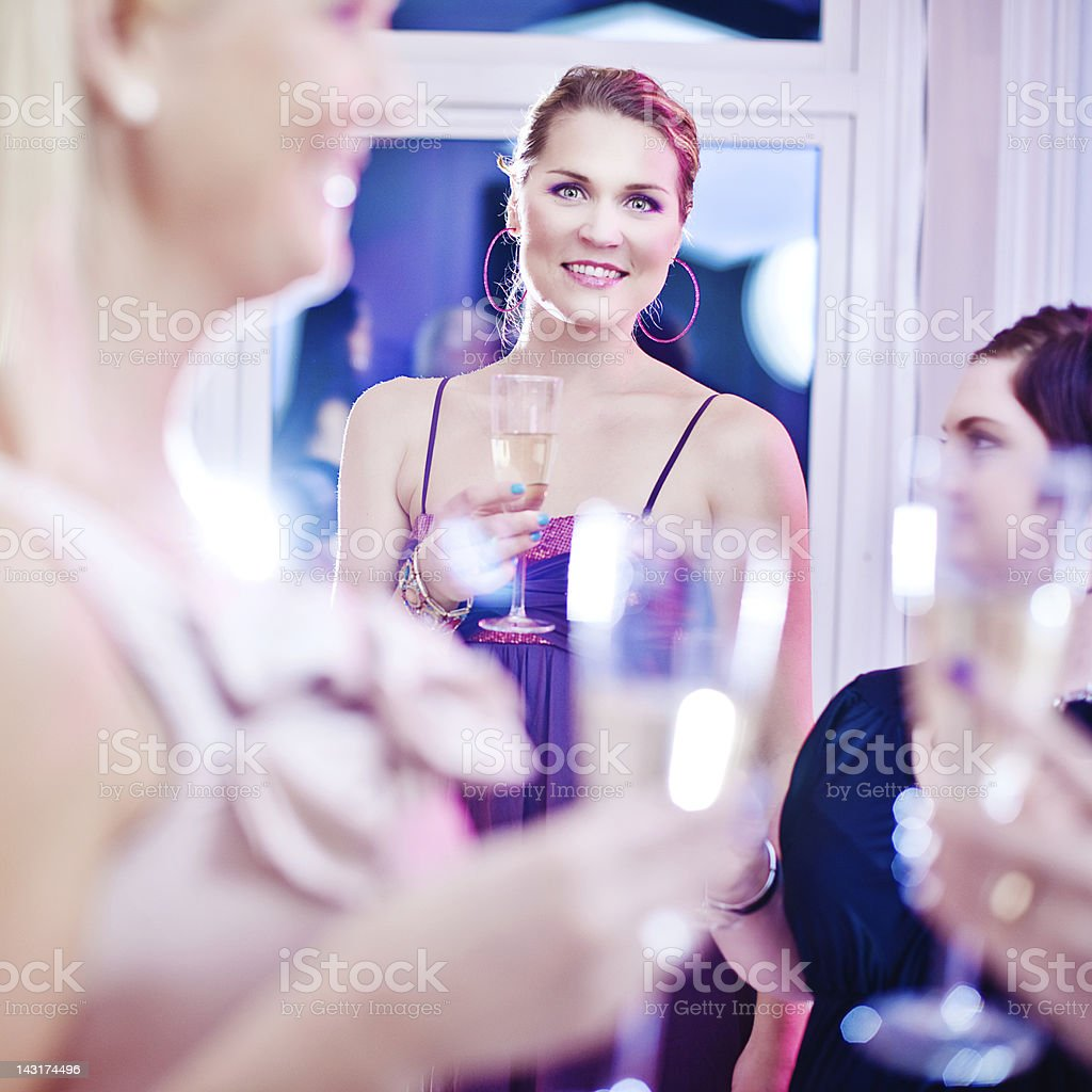 Party celebrating with champagne royalty-free stock photo