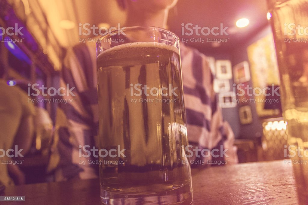 party concept -  girl drinking beer stock photo