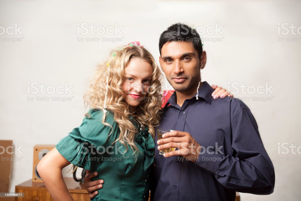 Party couple posing for photo royalty-free stock photo