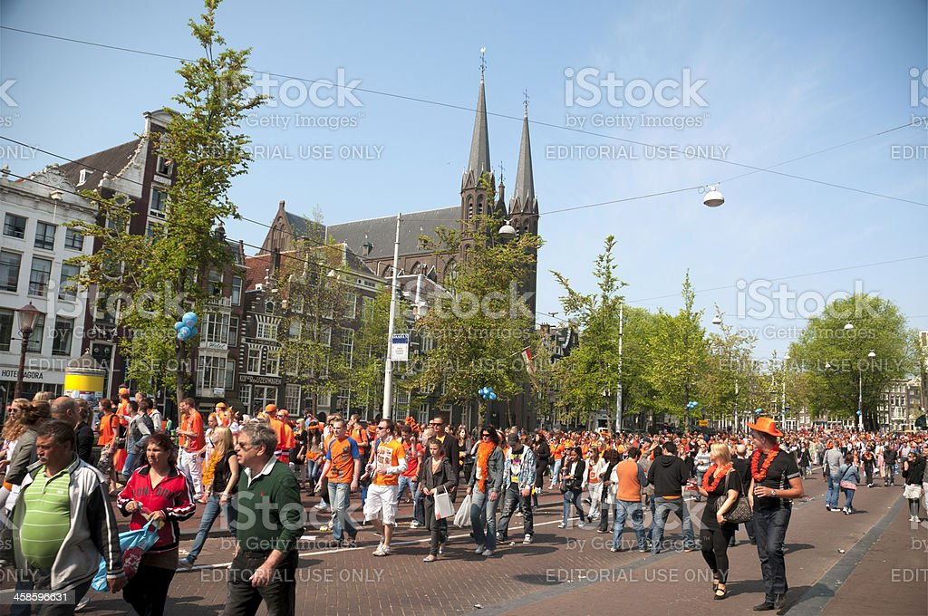 Party Crowd on Queen's Day in Amsterdam, Netherlands stock photo