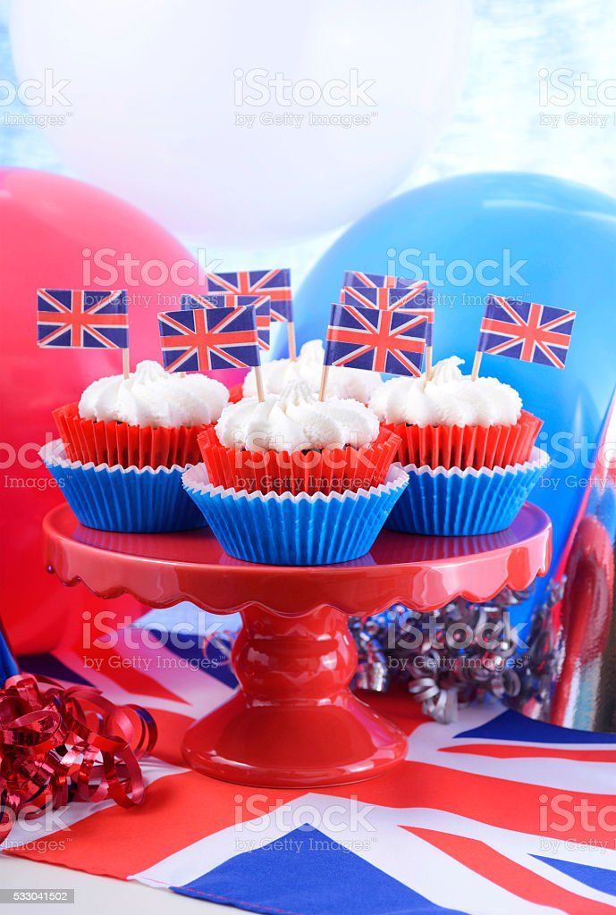 Party cupcakes with UK flags stock photo