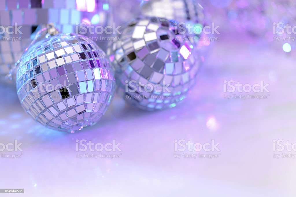 Party decoration with disco balls stock photo