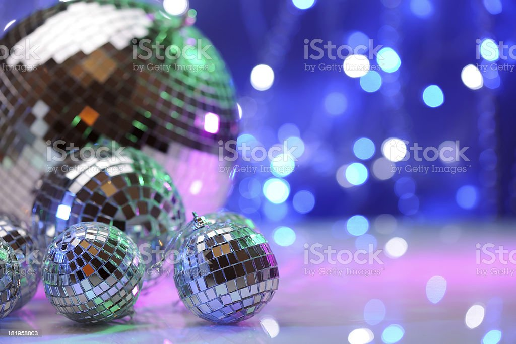 Party decoration with disco balls royalty-free stock photo