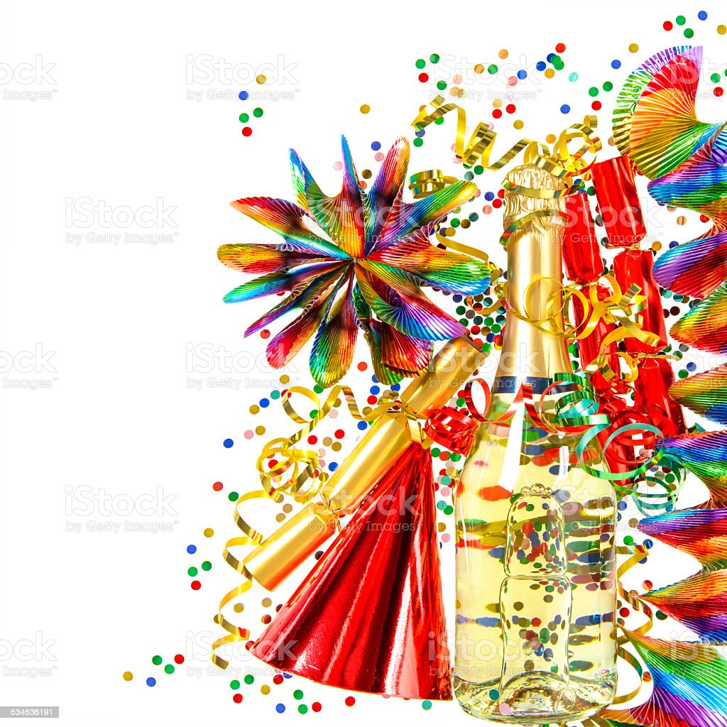 party decoration with garlands and confetti stock photo