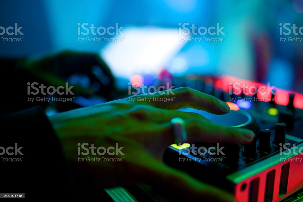 party dj at turntables royalty-free stock photo