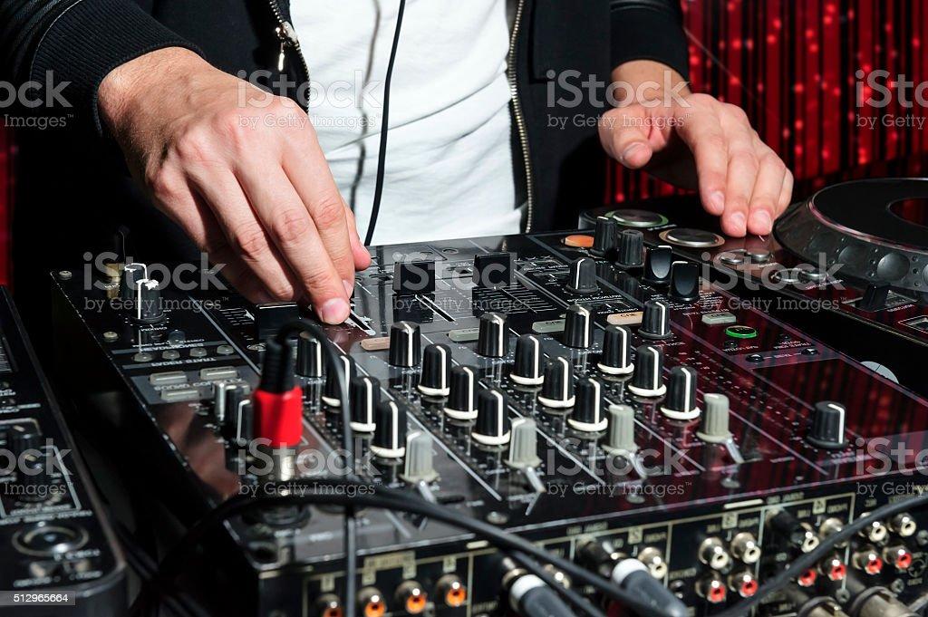 Party DJ in nightclub stock photo
