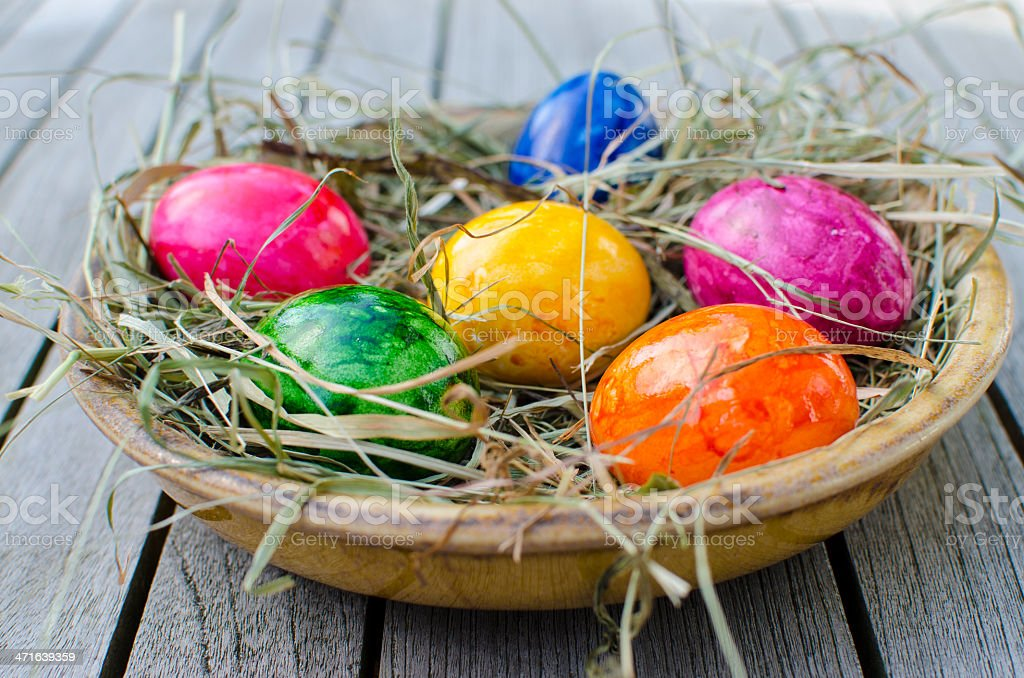Party eggs in a bowl stock photo