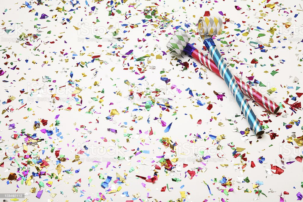Party Favours on Confetti royalty-free stock photo
