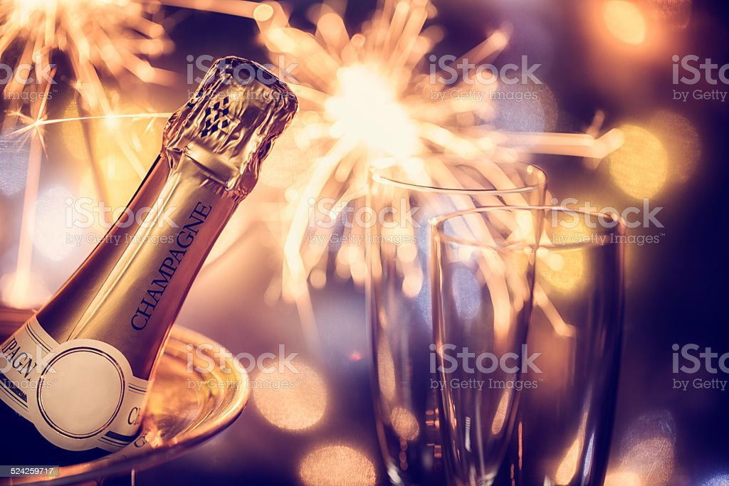 Party Feeling with Sparklers and Champagne stock photo