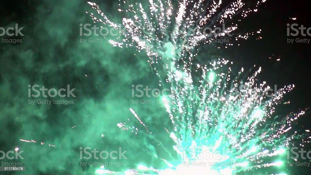 Party Fireworks Exploding In The Night stock photo