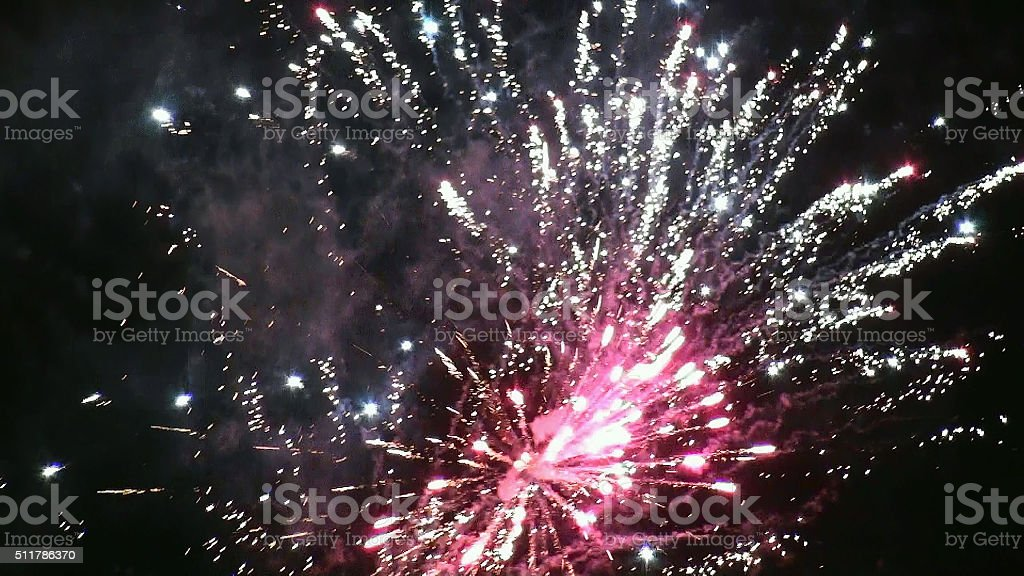 Party Fireworks In The Night stock photo