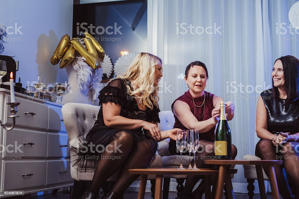 Party friends having champagne stock photo