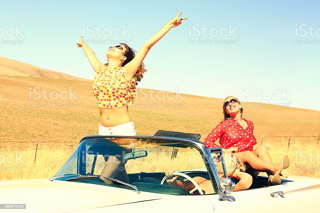 Party Girls on the Road royalty-free stock photo