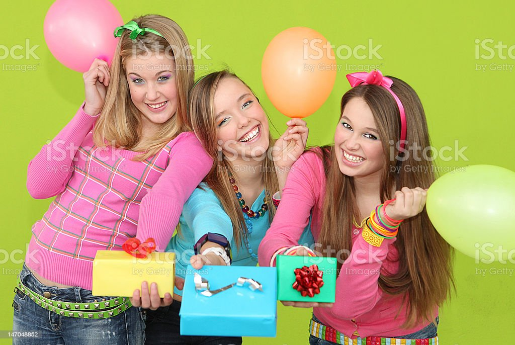 party girls with presents stock photo