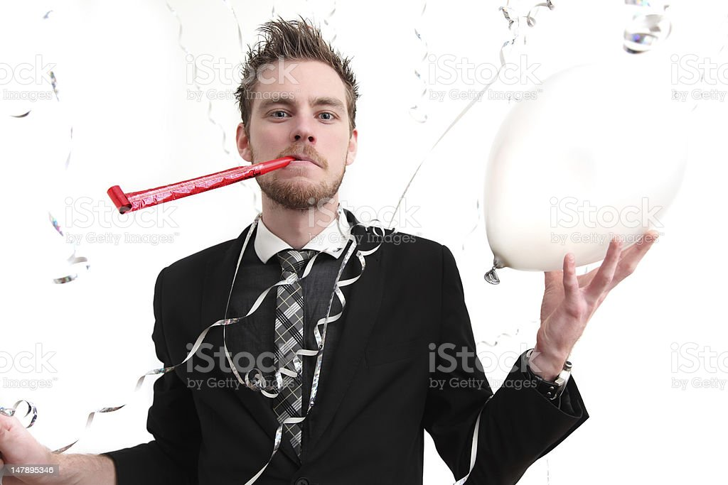 Party guy holding a balloon stock photo