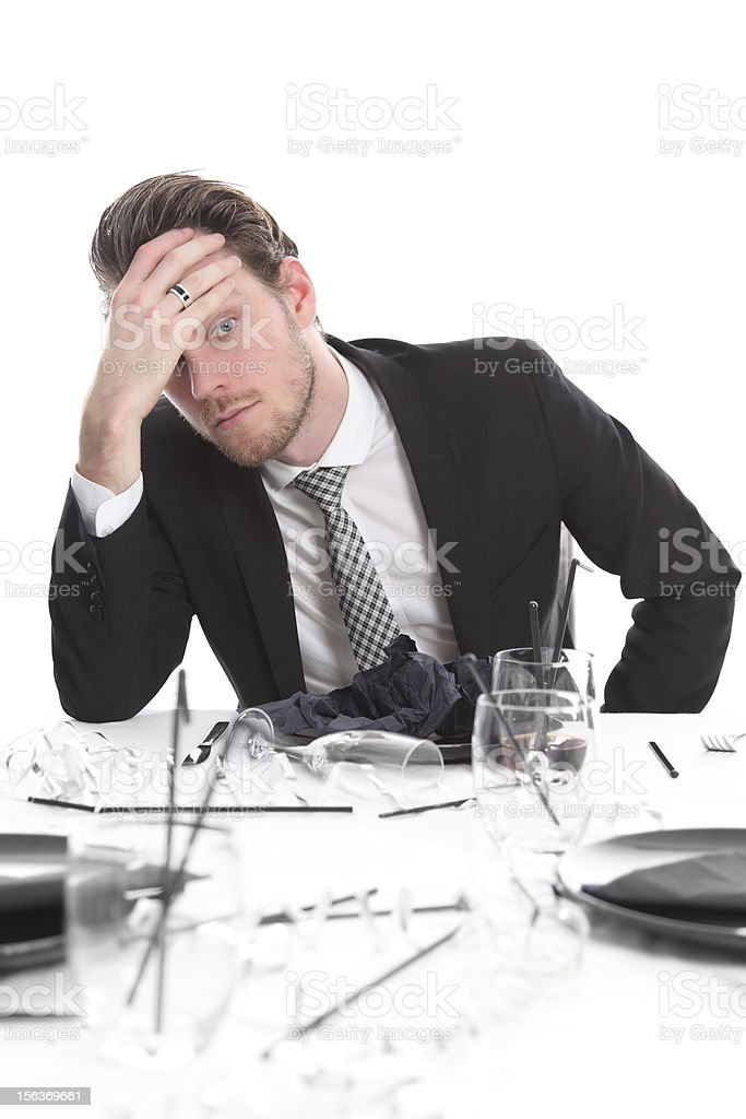 Party guy with a worried look royalty-free stock photo