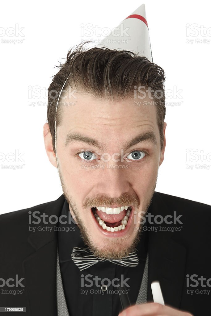 Party guy with partyhorn blower royalty-free stock photo