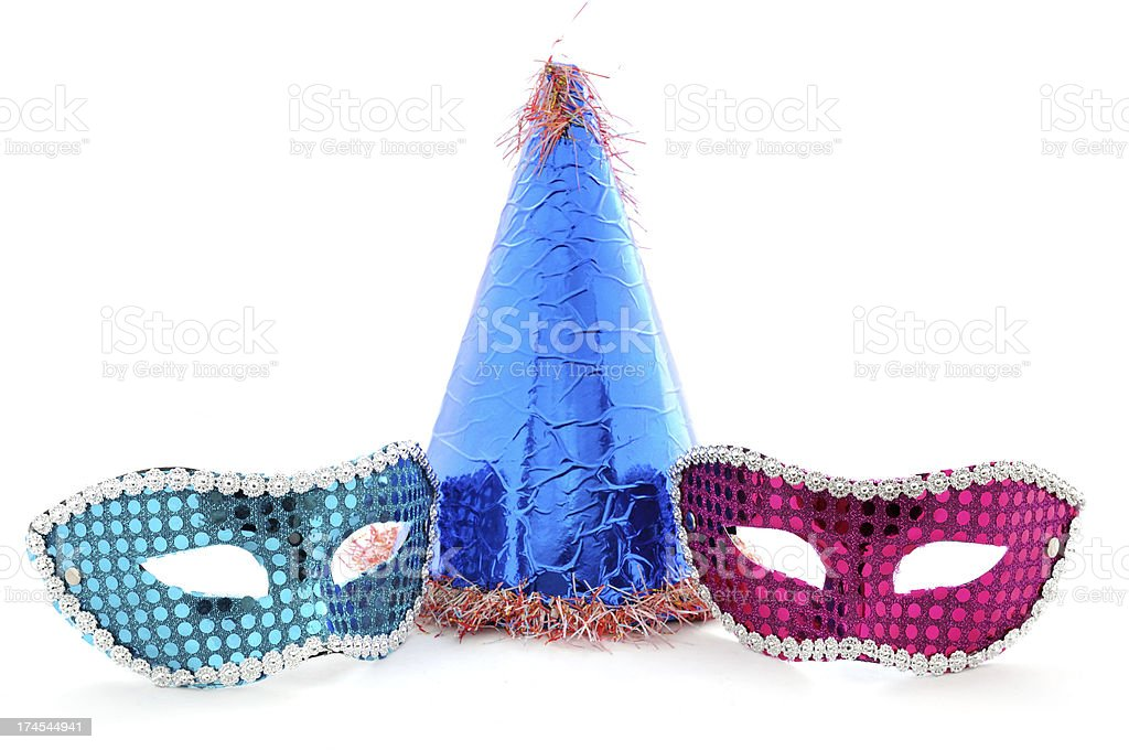 party hat and face mask royalty-free stock photo