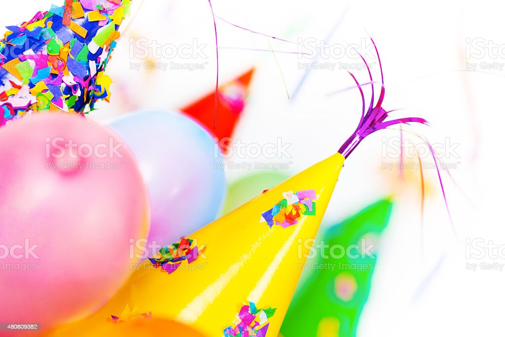 Party Hats and Balloons stock photo