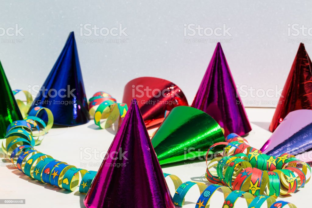 Party hats, birthday, carnival, party, red background stock photo