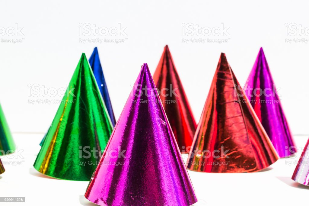 Party hats, birthday, carnival, party, white background stock photo