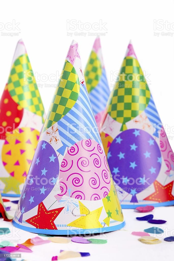 Party Hats on white background royalty-free stock photo