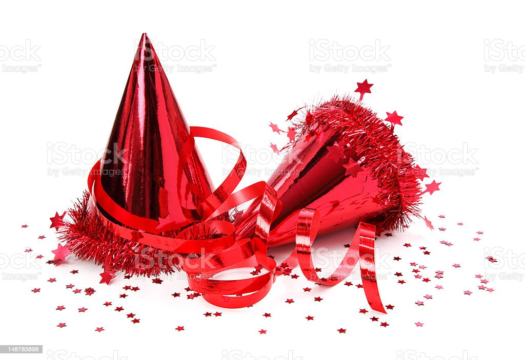 Party hats, paper streamer stock photo