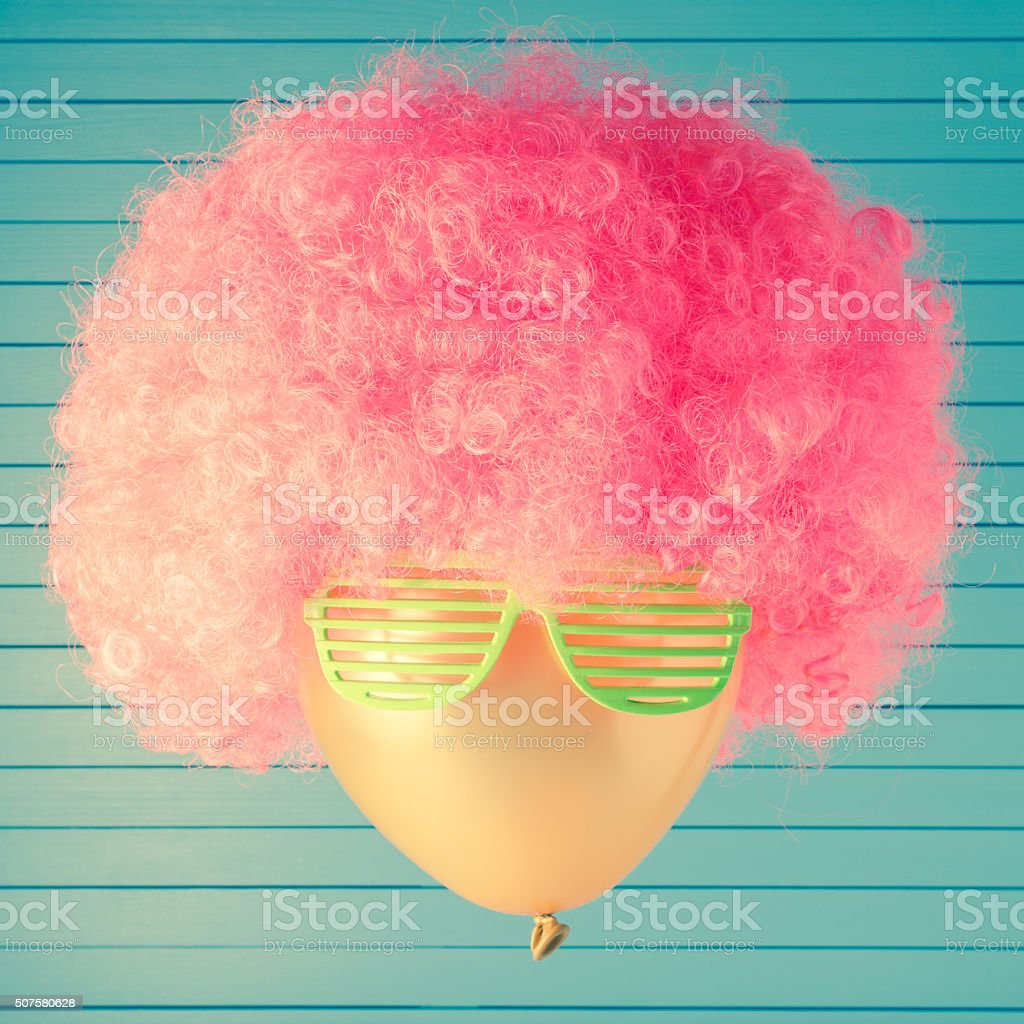 Party head made of balloon stock photo
