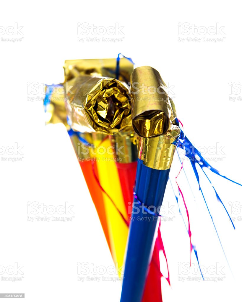 Party horn blower stock photo