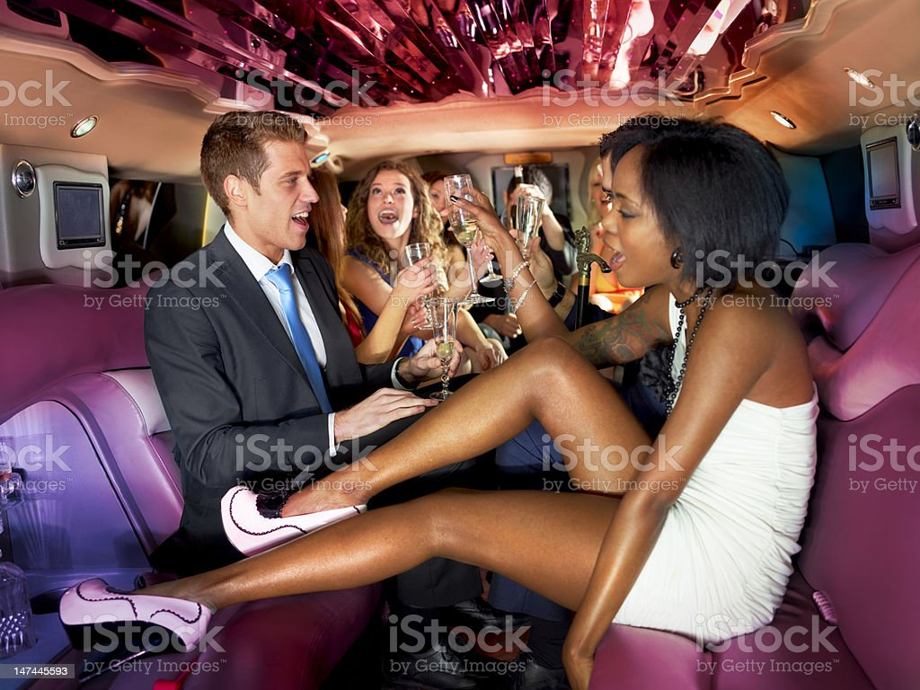 Party in a limousine royalty-free stock photo