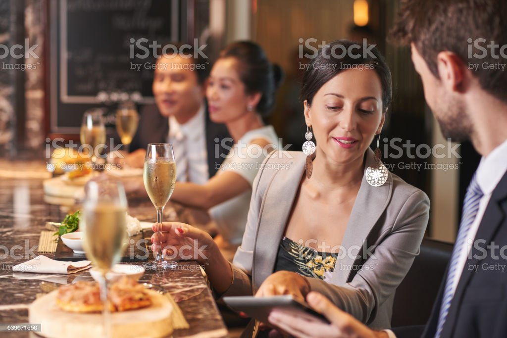 Party in restaurant stock photo