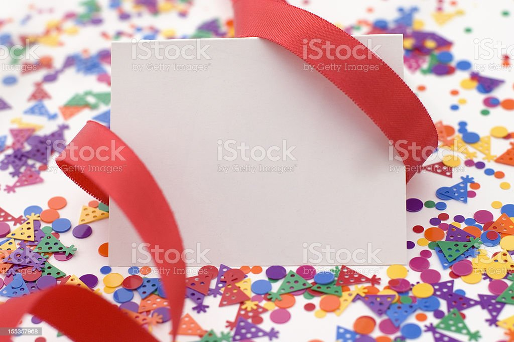 Party Invitation With Red Ribbon and Confetti. royalty-free stock photo