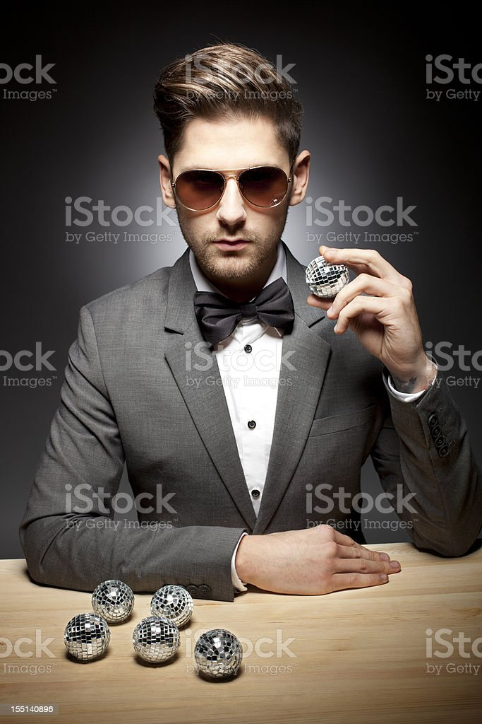 Party Man with Disco Balls royalty-free stock photo