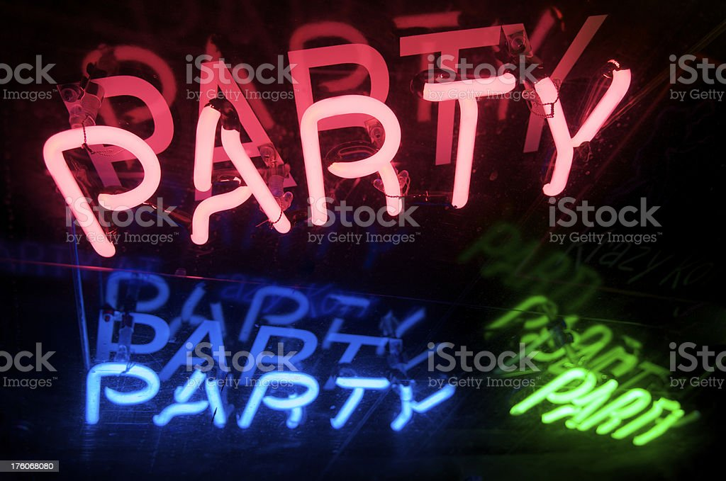 Party Message in Colorful Neon royalty-free stock photo