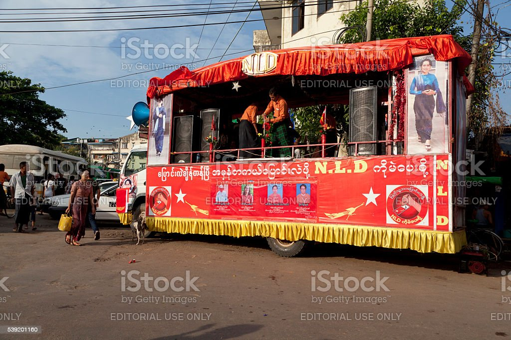 NLD party mobile campaign truck of Aung San Suu Kyi stock photo