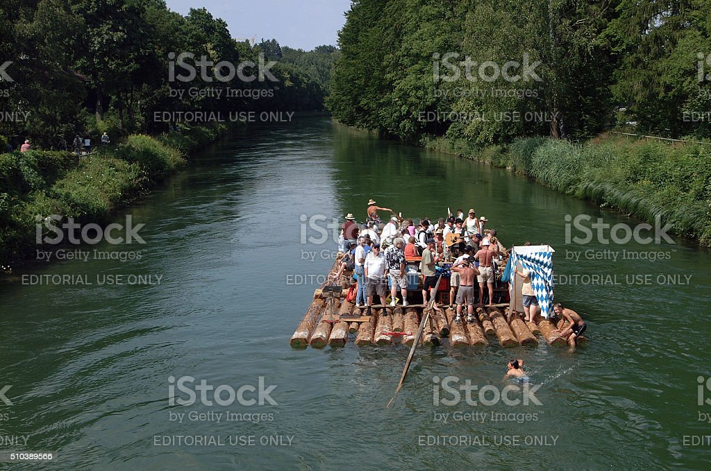 Party on a raft, Munich, Germany stock photo